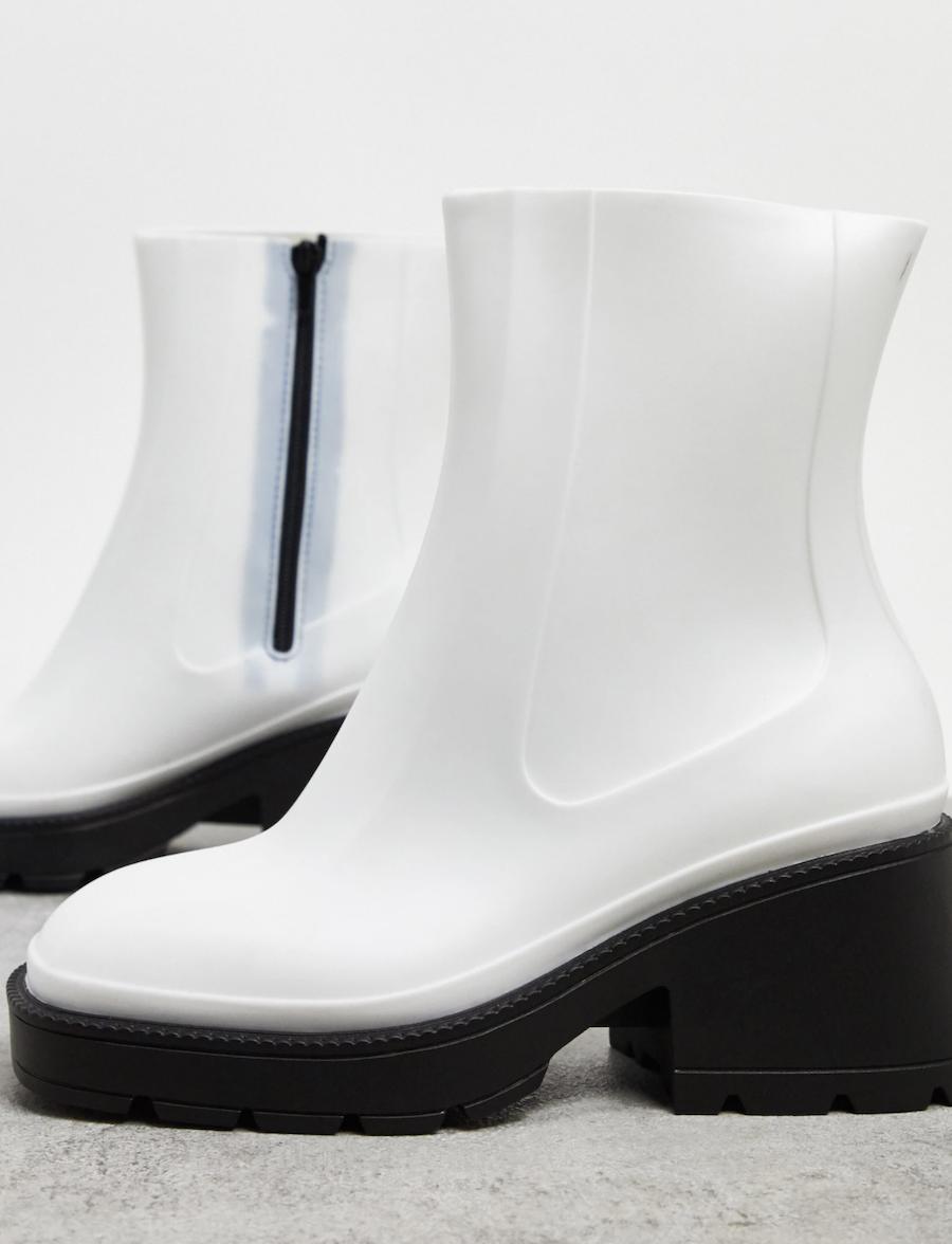 Botas de agua de tacón en blanco Grounded de ASOS DESIGN