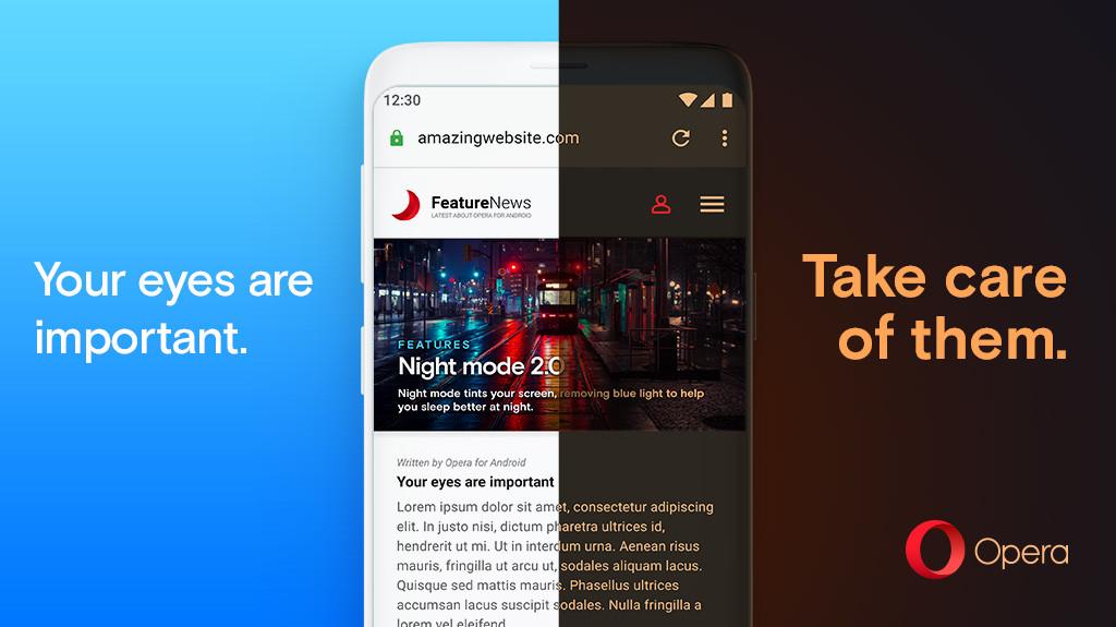Opera 55 para Android™ lleva el tema oscuro a la web e incluyen el intercambio rápido de pestañas, entre otras novedades