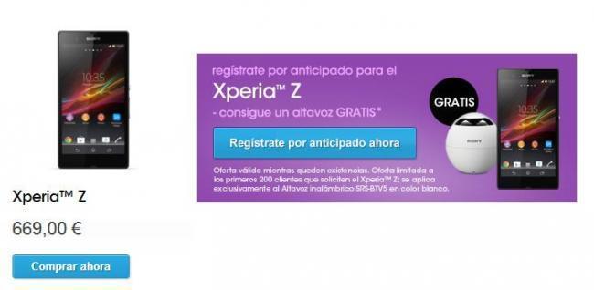 Sony Xperia Z, precio