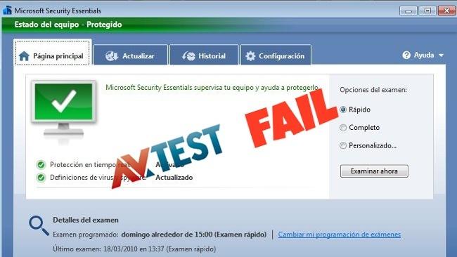Microsoft Security Essentials vuelve a suspender de nuevo la certificación AV-Test