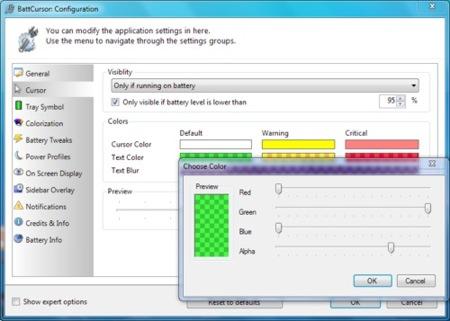 BattCursor, notificaciones de la cantidad de energía de la batería