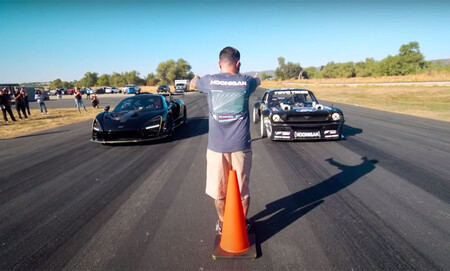 Hoy, en comparaciones imposibles: el Ford Mustang Hoonicorn de Ken Block y sus 1.400 CV destrozan al McLaren Senna Merlin en vídeo