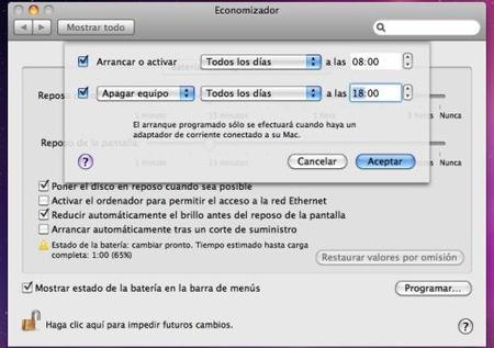 Programando en encendido automático de tu Mac