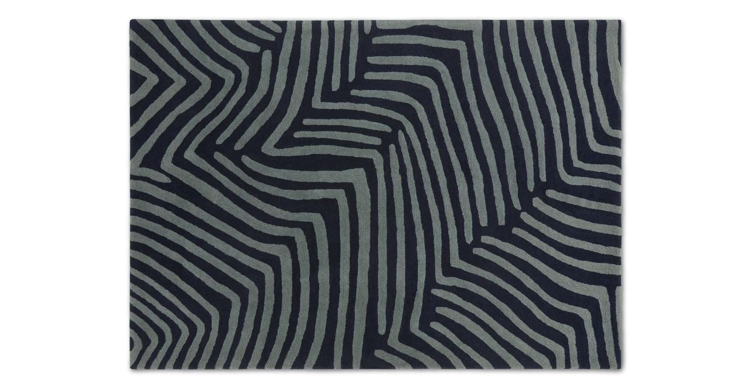 Alfombra de lana anudada a mano Larkin, grande, 160 x 230 cm, azul pizarra y medianoche