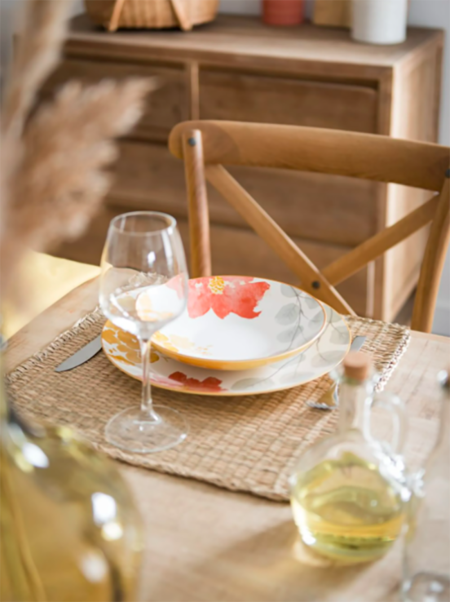 Vajilla Piombino De Porcelana Con Estampado De Motivo Floral Amarillo Rosa Y Gris