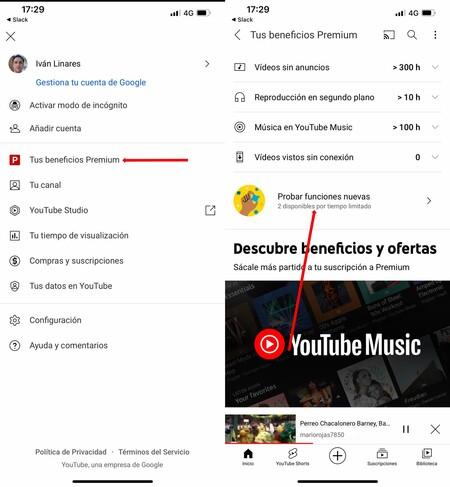 Youtube Funciones Experimentales
