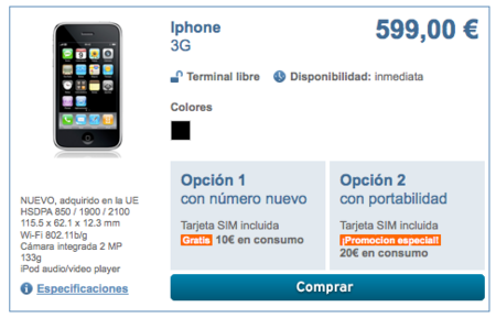 Simyo vende el iPhone 3G libre por 599 euros