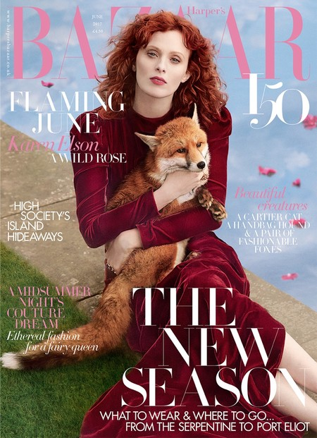 Karen Elson Harpers Bazaar Uk June 2017 Cover Editorial01