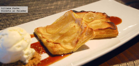 Restaurante Realcafé Bernabeu. Tarta de manzana con helado