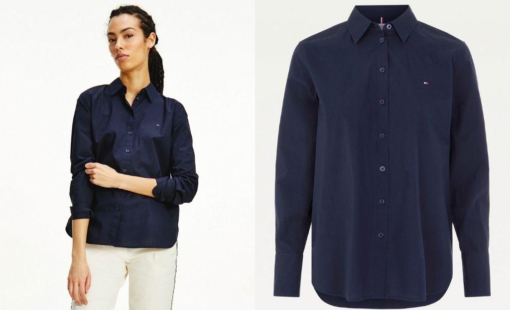 Camisa ancha de algodón de mujer con manga larga