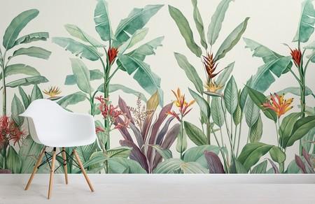 Papel Pintado Vintage Con Plantas Tropicales Verdes Chair