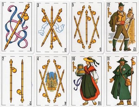 Ejemplo de los palos de una baraja de cartas gallega.