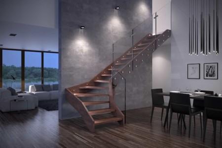 Madera y cristal la combinaci n perfecta para una for Iluminacion escaleras interiores