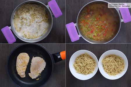 Sopa de fideos noodles al miso con atún y espinacas