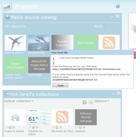 Media source Catalog en Windows Live FrameIt