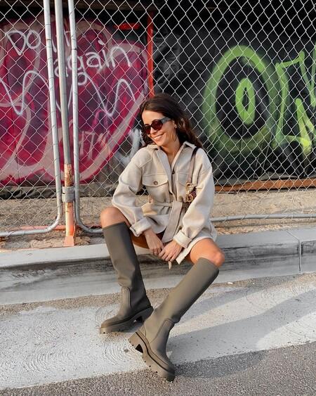 Street Style Bota Agua Khaki Zara 02