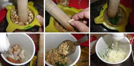 Preparación de ls tallarines con salsa de nueces