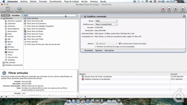 Screencast: crea un flujo de trabajo para convertir vídeos de forma automática