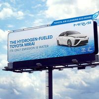 Las vallas que promocionan el primer Toyota ecológico con motor de hidrógeno, también 'se comen' la polución