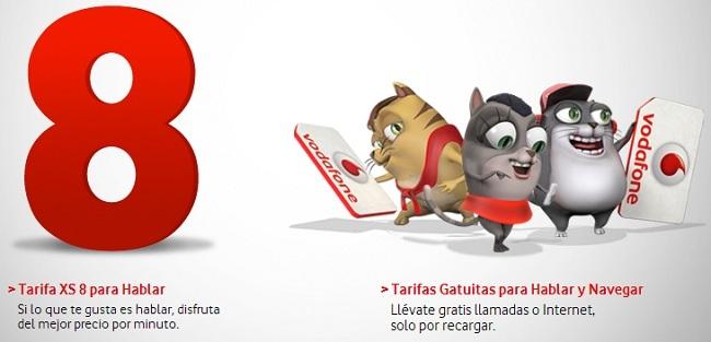 Tarifas Gatuitas y XS8 de tarjeta prepago Vodafone