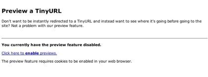 Vista previa, la nueva función de TinyURL