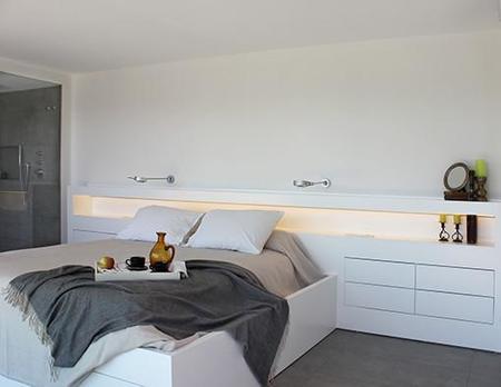 Iluminacion De Dormitorio Con Bano Abierto
