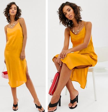 Vestido Saten Amarillo