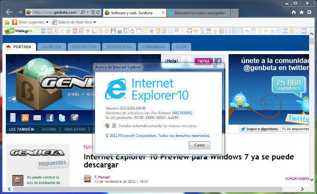 Internet Explorer 10 Preview Para Windows 7 Ya Se Puede Descargar
