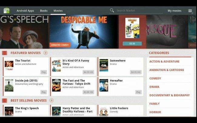 Alquiler de películas en el Android Market