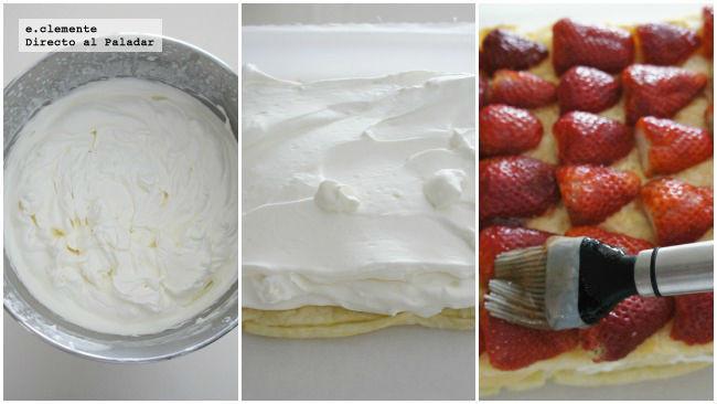 Tarta de fresas con nata y queso crema