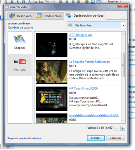 YouTube en WL Writer