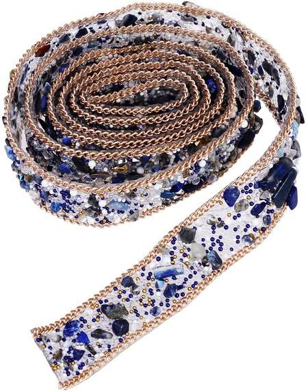 Healifty 1 Metros Rhinestone De Cristal Y Perla Con Cuentas Apliques De Encaje Cinta De Bling Costura En El Adorno Para El Vestido Sash Cinturon Diy Sombreros Bolsas Zapatos Adornos 2pcs Azul