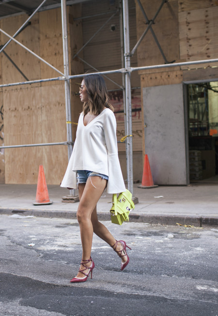 Aimee Song Of Style Shop Two Songs Bell Sleeves Blouse Denim Shorts Valentino Studded Heels Proenza Schouler Bag