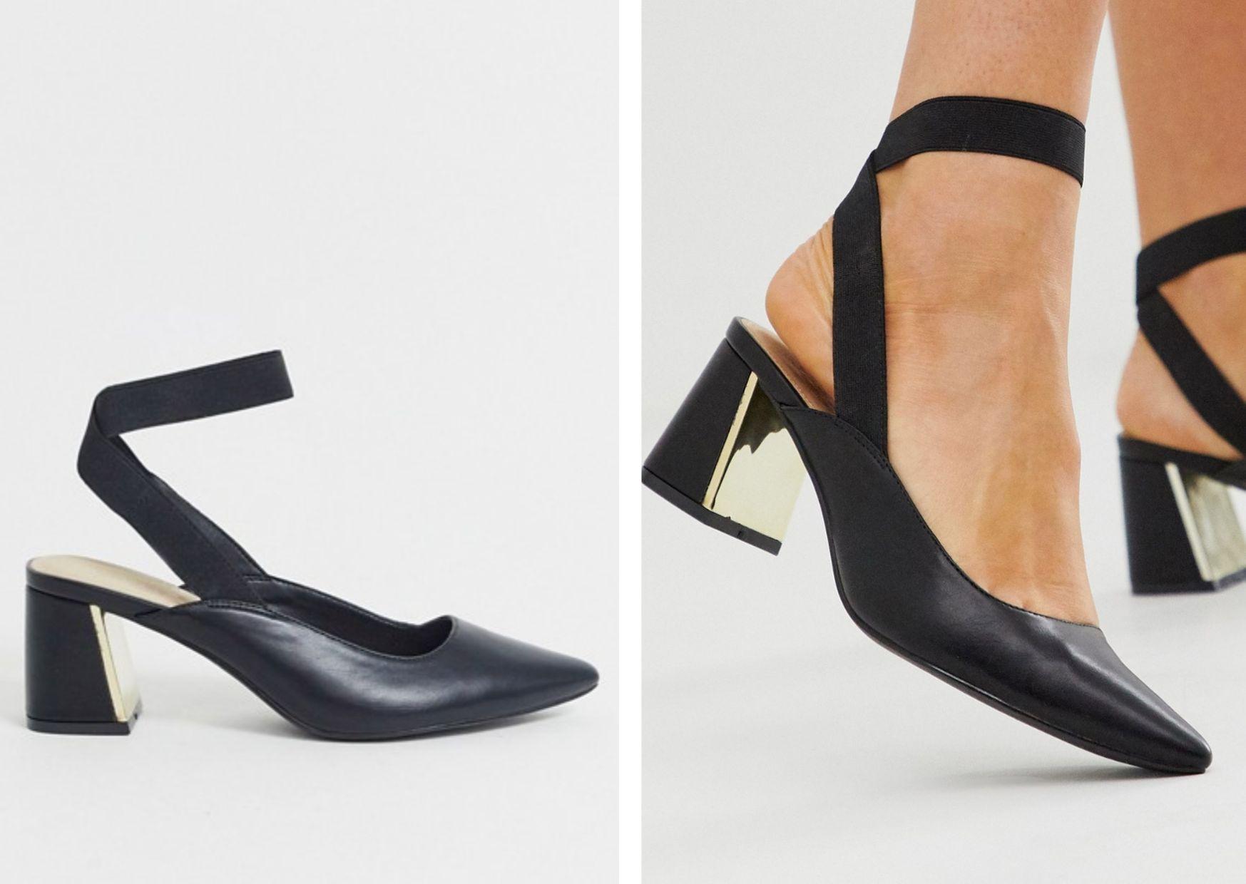 Zapatos de tacón cuadrado con tira trasera y puntera en punta en negro de Truffle Collection