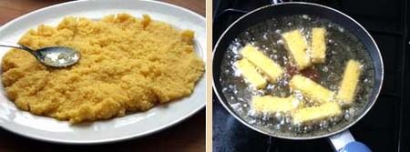 Elaboración de la polenta frita