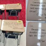 Anima a sus alumnos ante un examen importante con notas personales en cada pupitre.