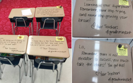 Todos querríamos una profe que dejara mensajes así en los pupitres de nuestros hijos.. o en los nuestros cuando estudiabamos