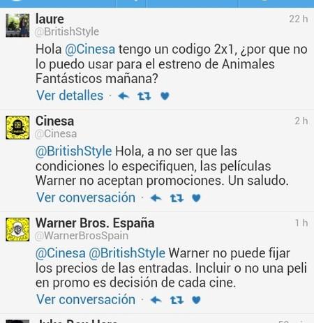 Conversación en Twitter con Cinesa y Warner