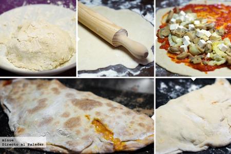 Pizza calzone vegetariana - elaboración