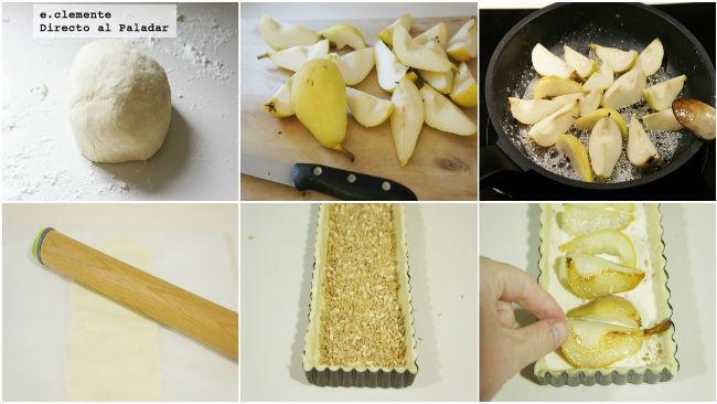Tarta de peras caramelizadas y almendra