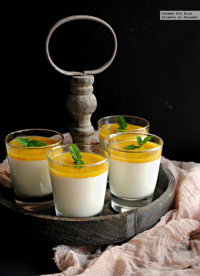 Crema de yogur con puré de mango y lima