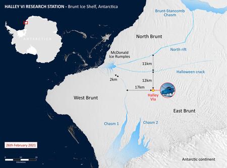 Brunt Ice Shelf Cracks Distances 26feb21 2048x1519