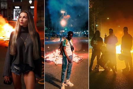 Selfie frente a una barricada en llamas: los disturbios de Barcelona ya son tendencia en Instagram