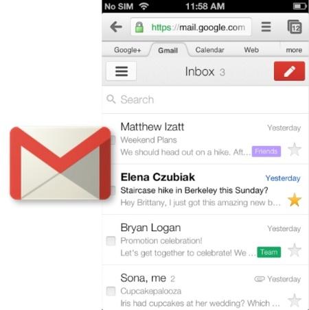 Google actualiza la versión web móvil de Gmail