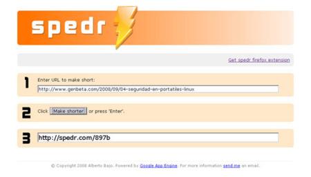 Spedr, sencillo generador de URLs cortas con integración en Firefox