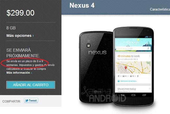 Nexus 4 retrasado