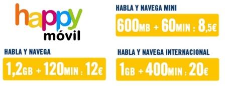 Happy Móvil mejora sus bonos prepagos con reducción de velocidad y más minutos