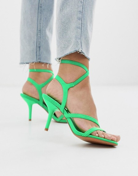 Asos Green Heightened Mid Heeled Strappy Sandals In Neon Green
