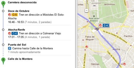 Google integra la red Cercanías de Renfe en Madrid