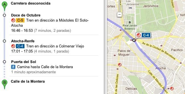 google maps cercanías renfe madrid